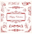 Abstract floral valentine decorative ornaments vector
