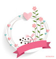 Cute card with ribbon heart and floral bouquets vector