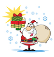 Jolly christmas santa holding up a stack of gifts vector