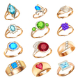 Set of rings with precious stones on a white backg vector