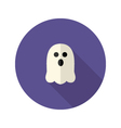 White scary ghost flat icon vector