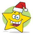 Happy christmas star cartoon character smiling vector
