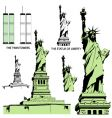 Statue of liberty and twin towers vector