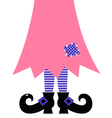 Cute witch legs isolated on white - pink vector
