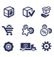 Packaging and buy icons car parts vector