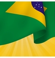 Background with realistic flag of brazil vector
