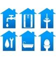 Plumbing set of bathroom icons vector
