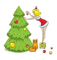 Girl cat and christmas tree vector