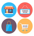 Shopping and retail flat style icons set vector
