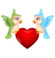 Bird with love heart vector