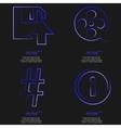 Set of fashionable blue icons trending symbols vector