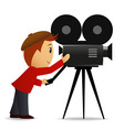 Cartoon man with movie camera vector