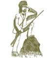 Woodcut explorer vector