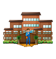 A carpenter in front of the house with a wooden vector