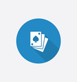 Poker flat blue simple icon with long shadow vector