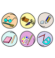 A set of school supplies on round background vector