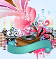 Pop music gramophone vector