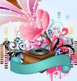 Pop music gramophone vector