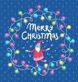 Christmas lights and santa greeting card vector