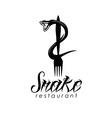 Snake on the fork design template vector