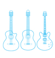 Silhouettes of classic guitars isolated on white vector
