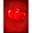 Valentines day background two red hearts on red vector
