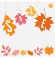 Hanging sale with autumn leaves vector