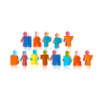 Happy birthday title with paper people vector