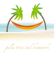 Palm trees with hammock vector