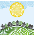 Nature pattern background sun houses vector