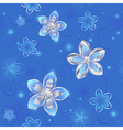 Seamless pattern of silver flowers vector