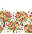 Seamless pattern of stylized autumn trees for vector
