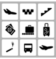 Airport black icon collection vector