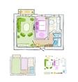 Sketch of design interior apartment hand drawn vector