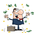Businessman standing under falling money vector
