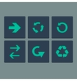 Simple green stamp flat arrow icons set web vector