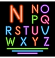 Neon tube letters multicolor glowing font vector