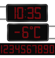 Digital clock and thermometer vector