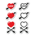 Hearts with arrow love valentines day icons vector