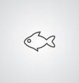 Fish outline symbol dark on white background logo vector