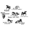 Black horses mascots vector