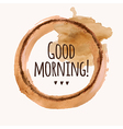With good morning phrase and pour coffee b vector