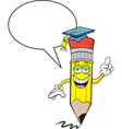 Cartoon pencil with word balloon vector