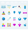 Flat icons for children toys vector