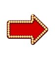 Red arrow with light bulbs vector