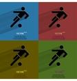 Color set football player flat modern web button vector