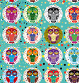 Seamless pattern with funny colored owls on a vector