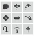 Black bathroom icons set vector