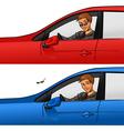 Boy in car vector