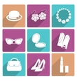 Woman accessories flat icons set vector